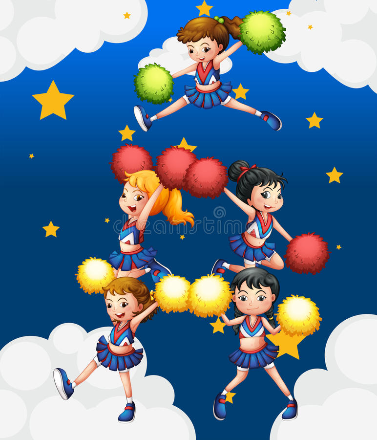 Πέντε cheerdancers που χορεύουν με τα pompoms τους διανυσματική απεικόνιση