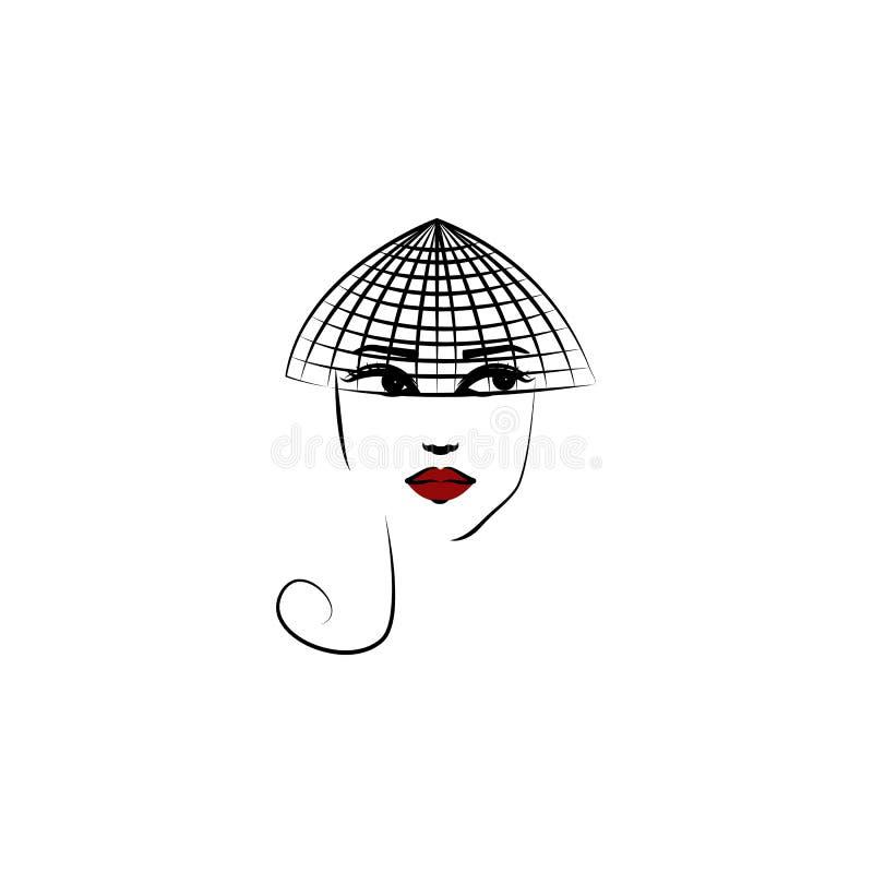 πέπλο καπέλων, εικονίδιο κοριτσιών Στοιχείο του όμορφου κοριτσιού σε ένα εικονίδιο καπέλων για την κινητούς έννοια και τον Ιστό a απεικόνιση αποθεμάτων