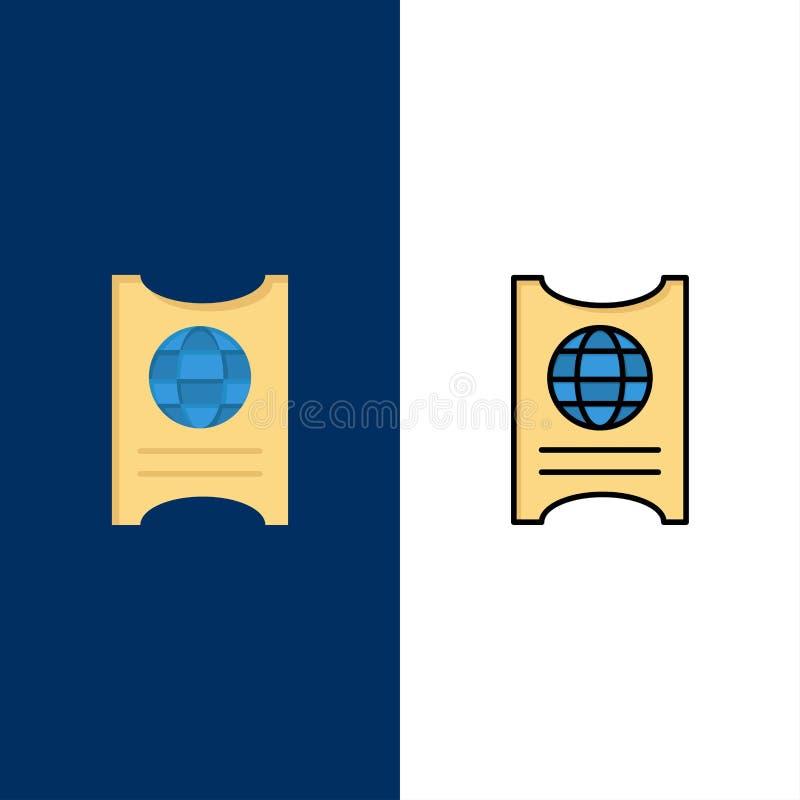 Πέρασμα, διαβατήριο, εισιτήριο, εικονίδια ξενοδοχείων Επίπεδος και γραμμή γέμισε το καθορισμένο διανυσματικό μπλε υπόβαθρο εικονι ελεύθερη απεικόνιση δικαιώματος