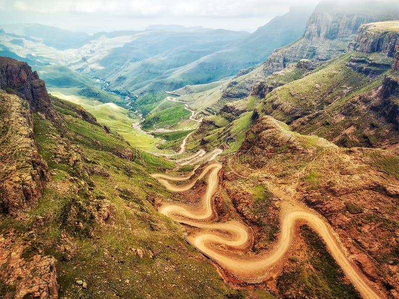 Πέρασμα Sani κάτω στη Νότια Αφρική στοκ εικόνες