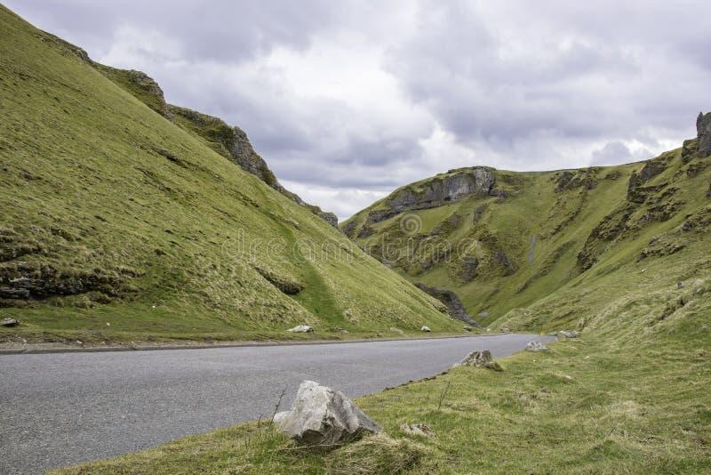 Πέρασμα Winnats, μέγιστο εθνικό πάρκο περιοχής, UK στοκ εικόνα