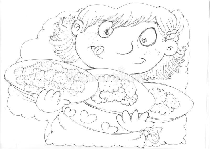 Πέρα από το άπληστο παιδί με τα πιάτα των μπισκότων, schizzi ένα scarabocchi matite bozze ε διανυσματική απεικόνιση