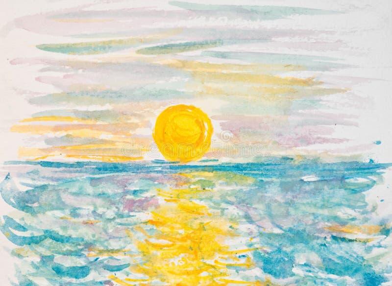 πέρα από το ηλιοβασίλεμα θάλασσας ελεύθερη απεικόνιση δικαιώματος