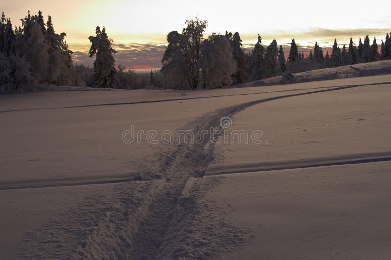 πέρα από το χιόνι πεδίων στοκ φωτογραφία