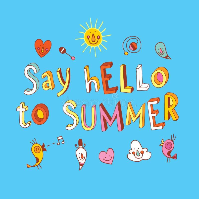 Πέστε γειά σου στο καλοκαίρι διανυσματική απεικόνιση