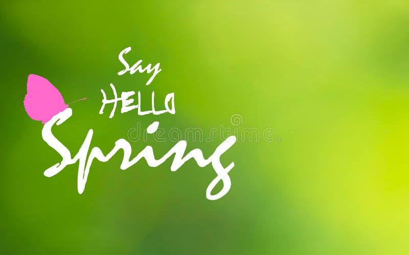 Πέστε γειά σου την άνοιξη και το ρόδινο blutterfly στο πράσινο μουτζουρωμένο υπόβαθρο, διανυσματικό eps 10 ελεύθερη απεικόνιση δικαιώματος