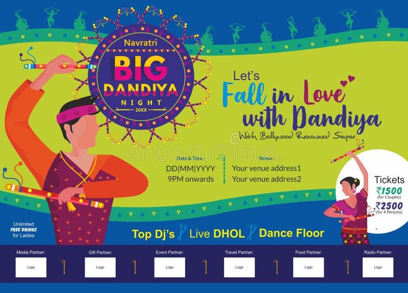 Πέστε ερωτευμένος με το μεγάλο πρότυπο αγγελιών τυπωμένων υλών νύχτας dandiya ελεύθερη απεικόνιση δικαιώματος
