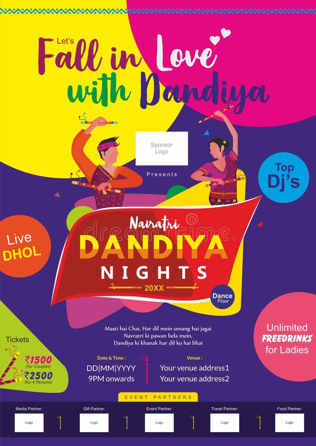 Πέστε ερωτευμένος με το πρότυπο αγγελιών τυπωμένων υλών dandiya ελεύθερη απεικόνιση δικαιώματος