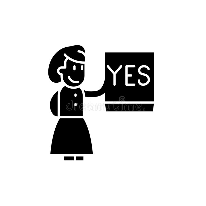 Πέστε ναι το μαύρο εικονίδιο, διανυσματικό σημάδι στο απομονωμένο υπόβαθρο Πέστε ναι το σύμβολο έννοιας, απεικόνιση ελεύθερη απεικόνιση δικαιώματος