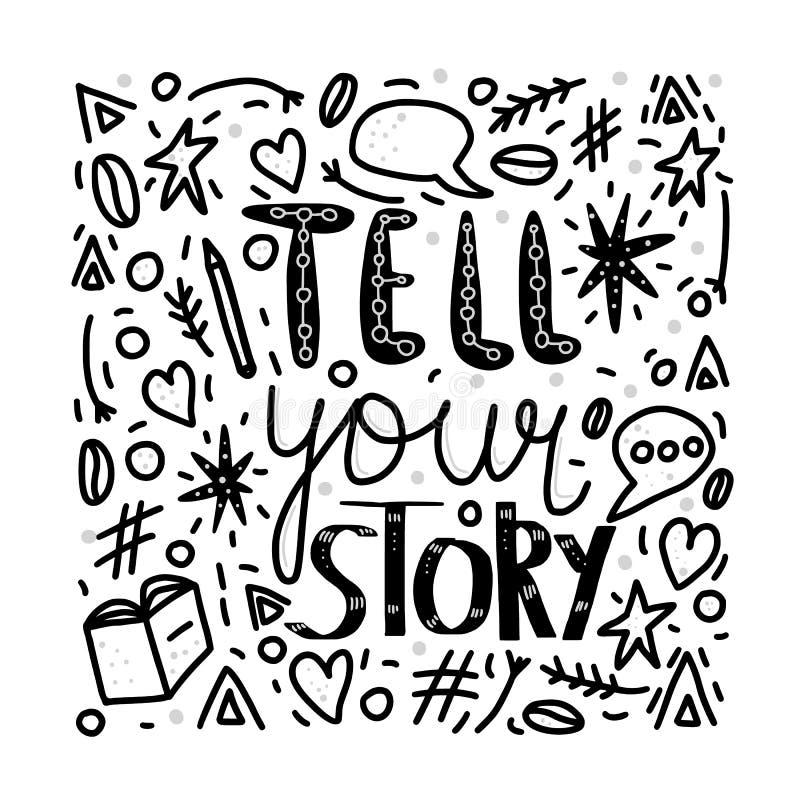 Πέστε στην ιστορία σας τη χειρόγραφη εγγραφή διανυσματική απεικόνιση