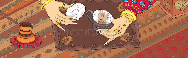 Πέστε στις τύχες το τουρκικό έμβλημα χεριών λόγων καφέ ελεύθερη απεικόνιση δικαιώματος