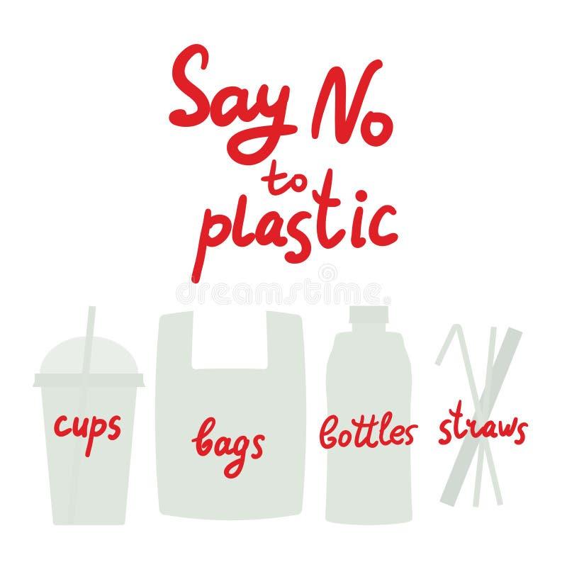 Πέστε το αριθ. στα πλαστικά άχυρα μπουκαλιών τσαντών φλυτζανιών Κόκκινο κείμενο, καλλιγραφία, που γράφει, doodle με το χέρι που α ελεύθερη απεικόνιση δικαιώματος