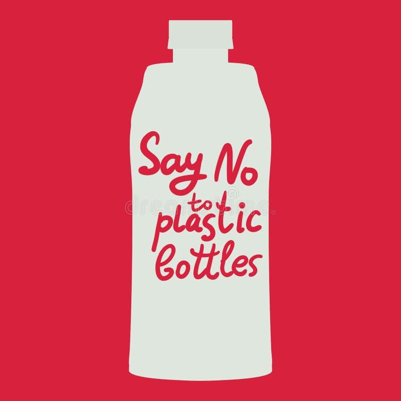 Πέστε το αριθ. στα πλαστικά μπουκάλια κείμενο, καλλιγραφία, που γράφει, doodle με το χέρι στο κόκκινο υπόβαθρο Έννοια Eco, οικολο διανυσματική απεικόνιση