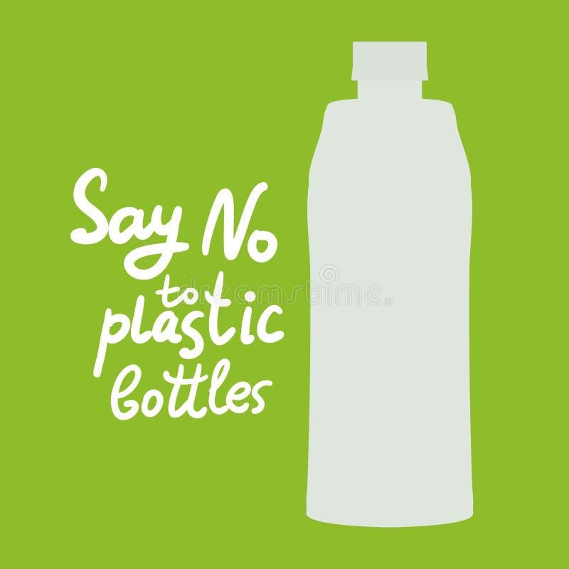 Πέστε το αριθ. στα πλαστικά μπουκάλια κείμενο, καλλιγραφία, που γράφει, doodle με το χέρι στο πράσινο υπόβαθρο Έννοια Eco προβλήμ ελεύθερη απεικόνιση δικαιώματος