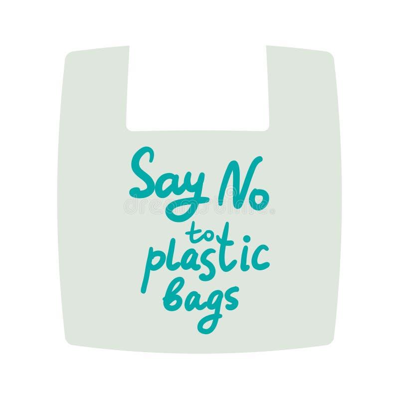 Πέστε το αριθ. στις πλαστικές τσάντες  Eco, οικολογία επίσης corel σύρετε το διάνυσμα απεικόνισης απεικόνιση αποθεμάτων