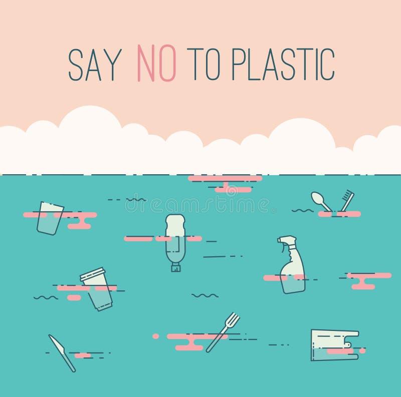 Πέστε το αριθ. στο πλαστικά κείμενο και τα απόβλητα στον ωκεανό απεικόνιση αποθεμάτων