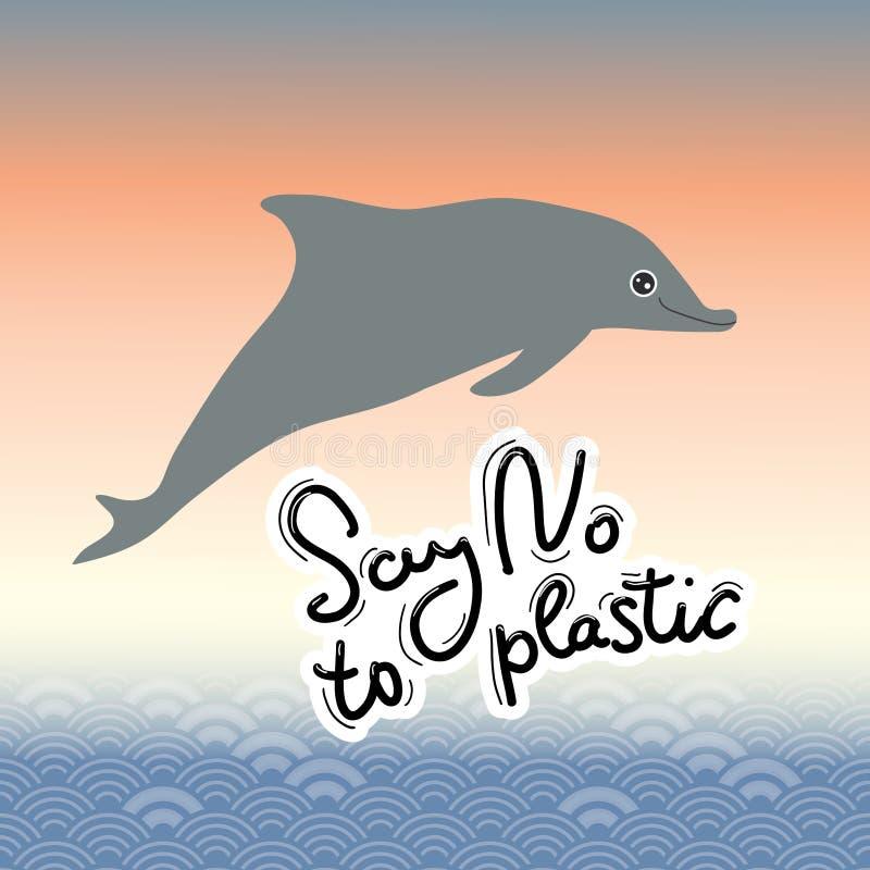 Πέστε το αριθ. στο πλαστικό δελφίνι Μαύρο κείμενο, καλλιγραφία, που γράφει, doodle με το χέρι Αφηρημένο υπόβαθρο κλιμάκων θάλασσα διανυσματική απεικόνιση