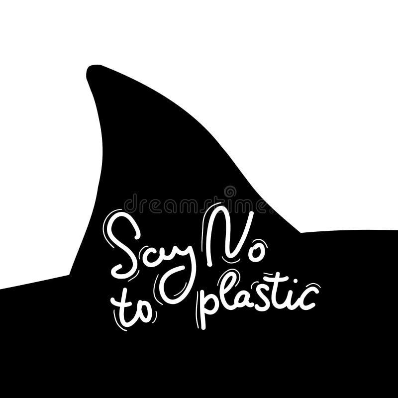 Πέστε το αριθ. στο πλαστικό Πτερύγιο καρχαριών, δελφίνι, θάλασσα, ωκεανός Άσπρο κείμενο, καλλιγραφία, που γράφει, doodle με το χέ ελεύθερη απεικόνιση δικαιώματος