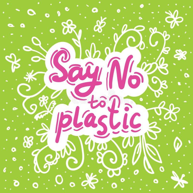 Πέστε το αριθ. στο πλαστικό Ρόδινο κείμενο, καλλιγραφία, που γράφει, doodle με το χέρι άσπρο σε πράσινο Φύλλα λουλουδιών και λιβε διανυσματική απεικόνιση