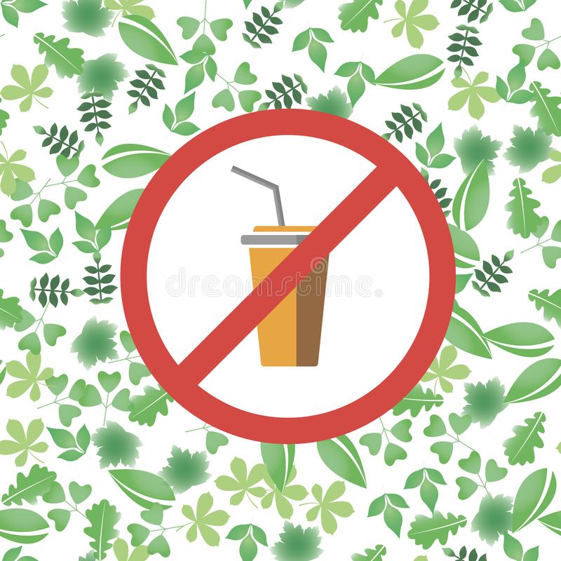 Πέστε το αριθ. στο πλαστικό σημάδι απαγόρευσης γυαλιού κόκκινο πέστε το αριθ. στην πλαστική ρύπανση φλυτζανιών εκτός από το περιβ διανυσματική απεικόνιση