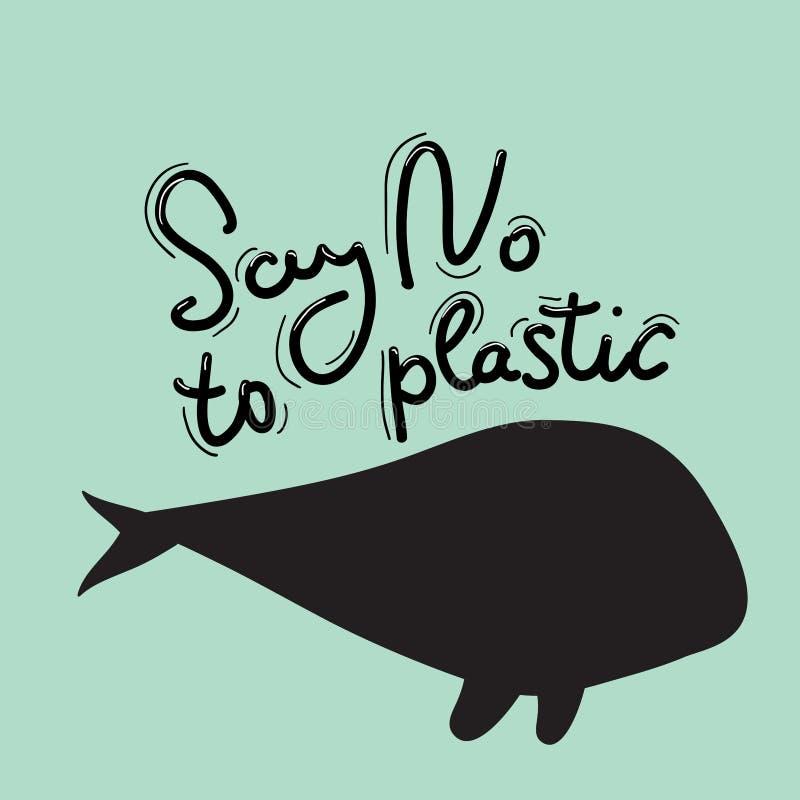 Πέστε το αριθ. στο πλαστικό Φάλαινα, θάλασσα, ωκεανός Μαύρο κείμενο, καλλιγραφία, που γράφει, doodle με το χέρι στο μπλε Έννοια E ελεύθερη απεικόνιση δικαιώματος