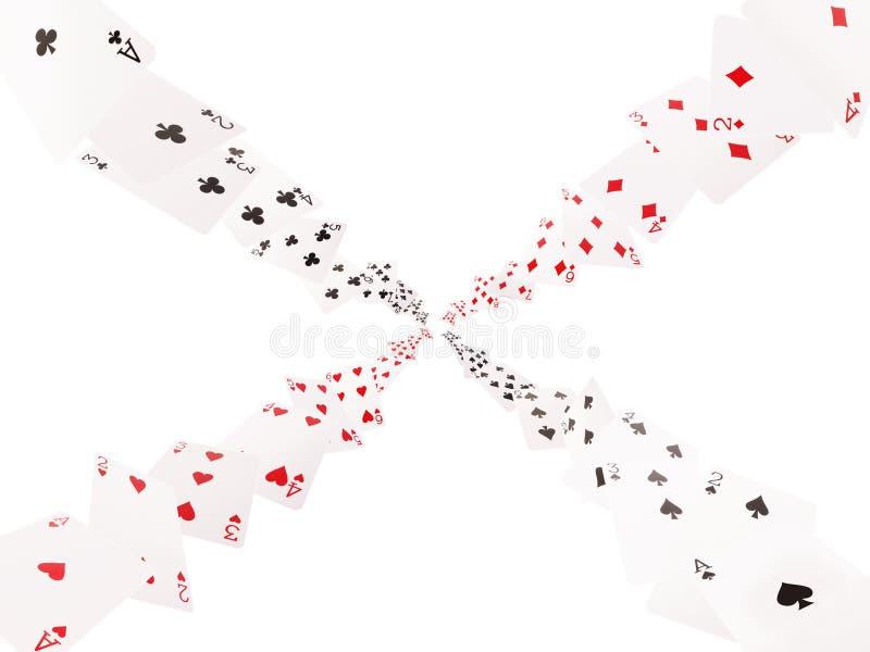 Πέταγμα καρτών παιχνιδιών Απομονώστε στην άσπρη ανασκόπηση ελεύθερη απεικόνιση δικαιώματος