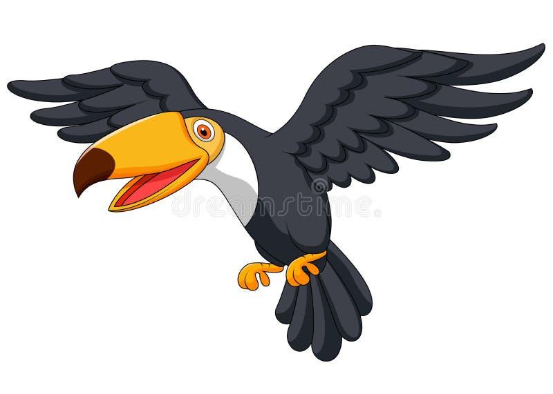 Πέταγμα κινούμενων σχεδίων πουλιών Toucan διανυσματική απεικόνιση