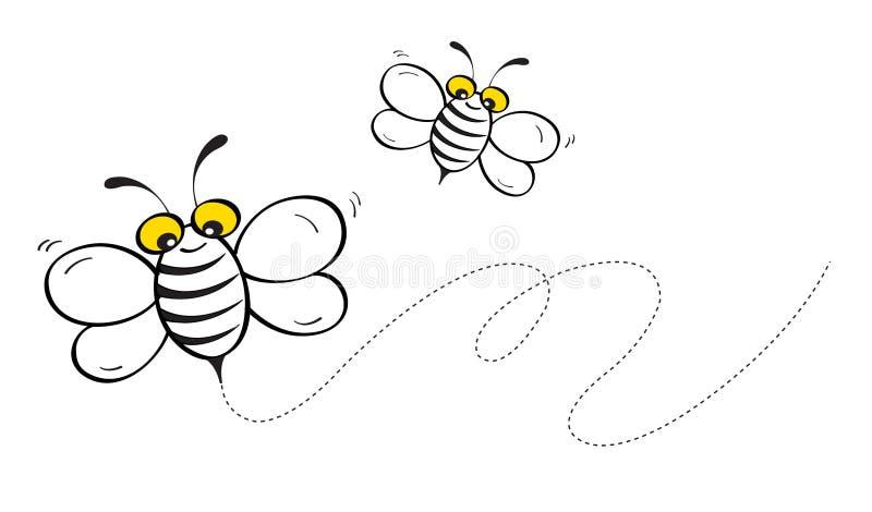 Πέταγμα μελισσών μελιού διανυσματική απεικόνιση