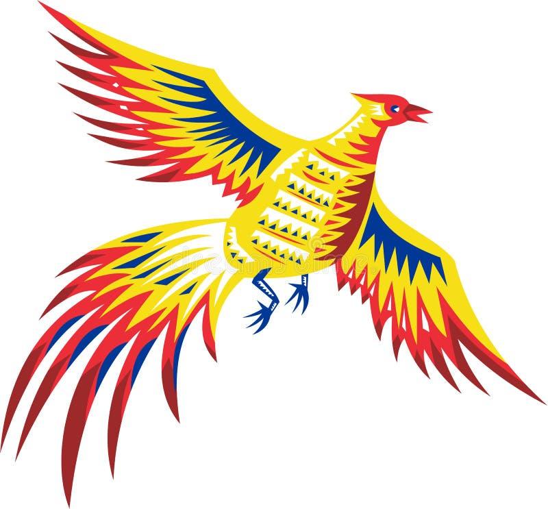 Πέταγμα πτηνών πουλιών φασιανών αναδρομικό ελεύθερη απεικόνιση δικαιώματος