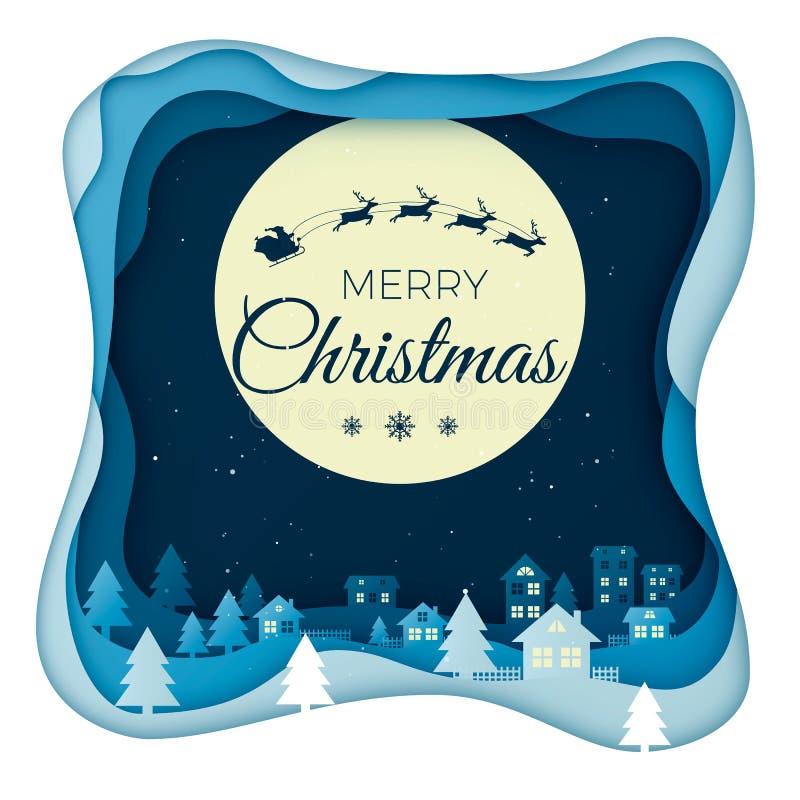 Πέταγμα Santa στο νυχτερινό ουρανό και το φεγγάρι στο τοπίο κωμοπόλεων πόλεων το χειμώνα με τα σπίτια και τους χιονώδεις λόφους Τ διανυσματική απεικόνιση