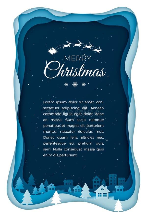 Πέταγμα Santa στο νυχτερινό ουρανό στην κωμόπολη πόλεων Τέχνη εγγράφου υποβάθρου χειμερινών διακοπών Το έγγραφο εποχής Χριστουγέν διανυσματική απεικόνιση