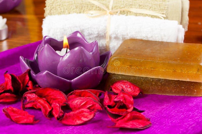 Πέταλα λουλουδιών και άλλες ιδιότητες SPA στοκ εικόνες