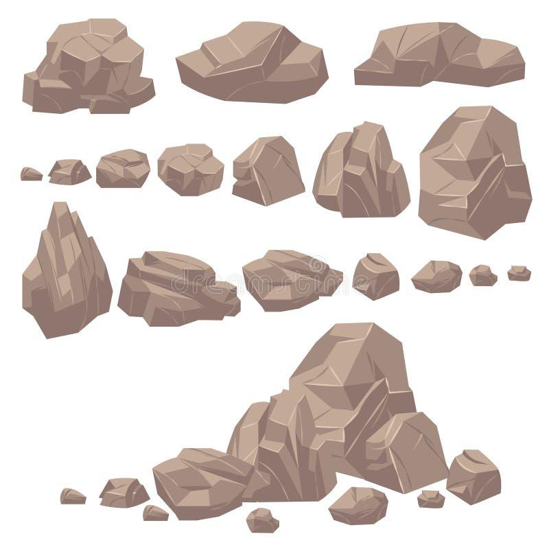 Πέτρα βράχου Isometric βράχοι και πέτρες, γεωλογικοί ογκώδεις λίθοι γρανίτη Cobbles για το τοπίο κινούμενων σχεδίων παιχνιδιών βο απεικόνιση αποθεμάτων