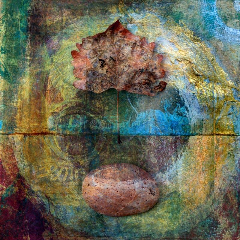 πέτρα φύλλων κύκλων διανυσματική απεικόνιση