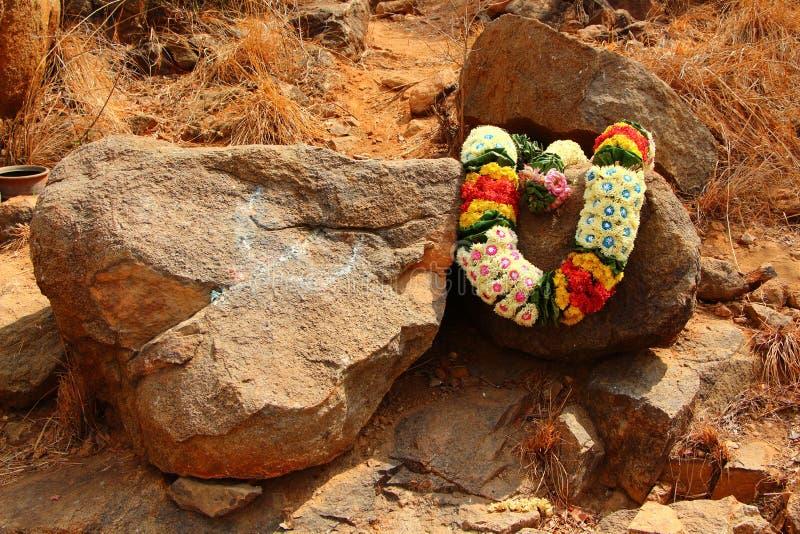 Πέτρα Ramana Maharshi περισυλλογής Ινδία στοκ εικόνα