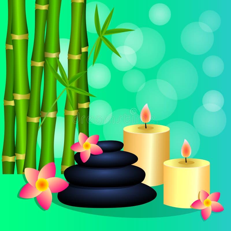 Πέτρες μπαμπού candles Spa για το φυλλάδιο φυλλάδιων εμβλημάτων, θέση ελεύθερη απεικόνιση δικαιώματος