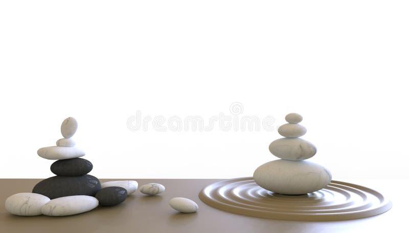Πέτρες της Zen, zen όπως τις έννοιες για την τέλεια περισυλλογή στο άσπρο υπόβαθρο διανυσματική απεικόνιση