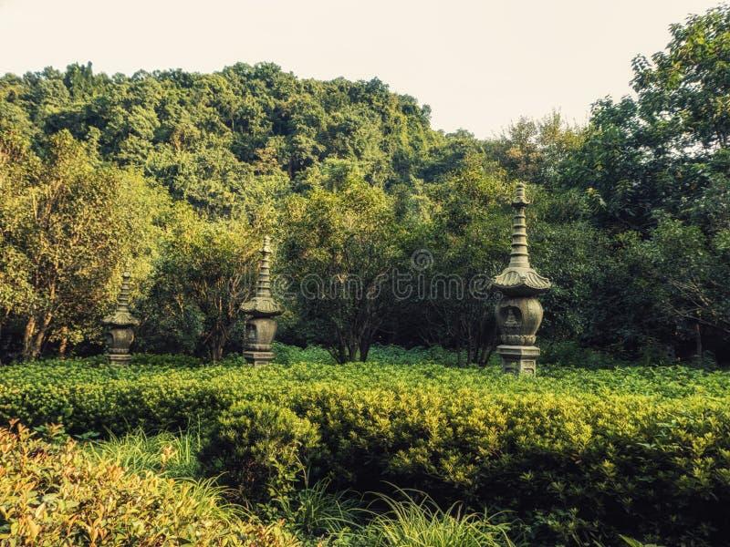 Πέτρινα αγάλματα φαναριών στο Forest Park ναών Lingyin, Hangzhou, επαρχία Zhejiang, Κίνα, Ασία στοκ φωτογραφία