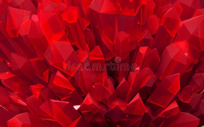 Πέτρινα μακρο ορυκτά, κόκκινα τραχιά κρύσταλλα κρυστάλλου απεικόνιση αποθεμάτων