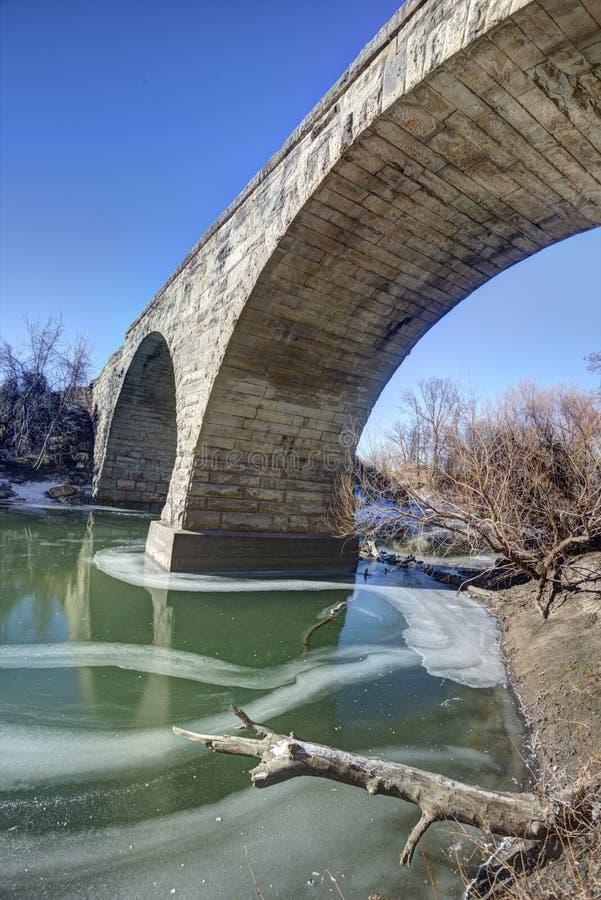 Πέτρινη γέφυρα αψίδων Clements, αγροτικό Κάνσας στοκ εικόνα