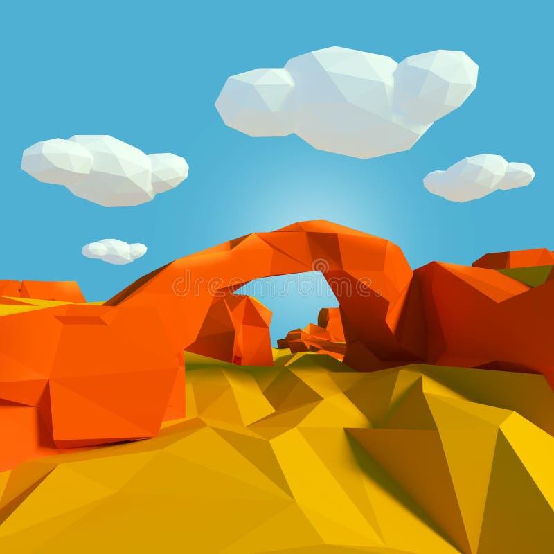 Πέτρινη γέφυρα στην έρημο διανυσματική απεικόνιση