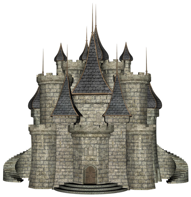 Πέτρινη μεσαιωνική απεικόνιση του Castle που απομονώνεται ελεύθερη απεικόνιση δικαιώματος