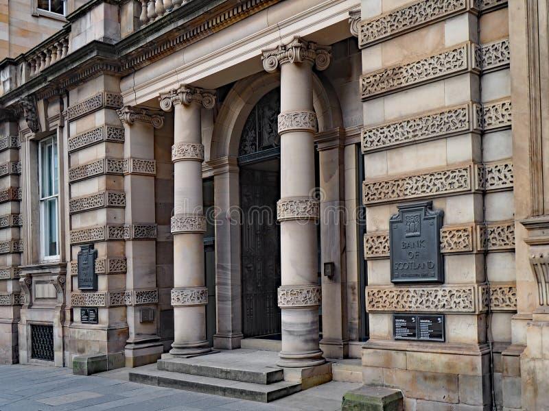 Πέτρινη οικοδόμηση της τράπεζας της Σκωτίας στο Εδιμβούργο στοκ φωτογραφία με δικαίωμα ελεύθερης χρήσης