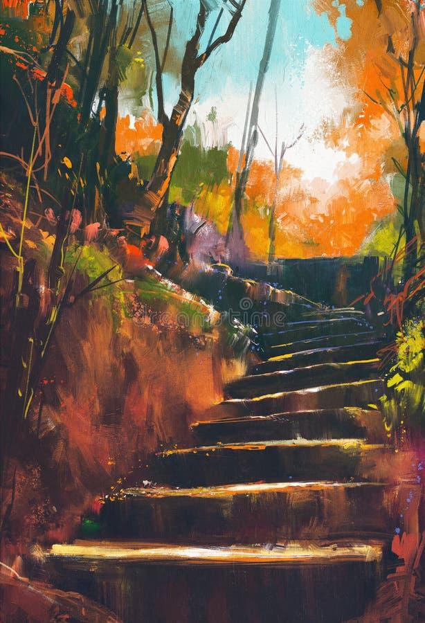Πέτρινη πορεία σκαλοπατιών στο δάσος φθινοπώρου στοκ εικόνες με δικαίωμα ελεύθερης χρήσης
