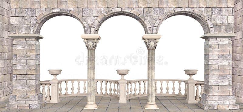 Πέτρινη στοά με τις στήλες και τα ημικυκλικά κιγκλιδώματα διανυσματική απεικόνιση