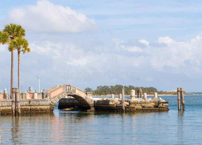 Πέτρινη φορτηγίδα κυματοθραυστών και ωκεάνια άποψη από το κατώφλι Vizcaya του μουσείου στοκ εικόνα με δικαίωμα ελεύθερης χρήσης