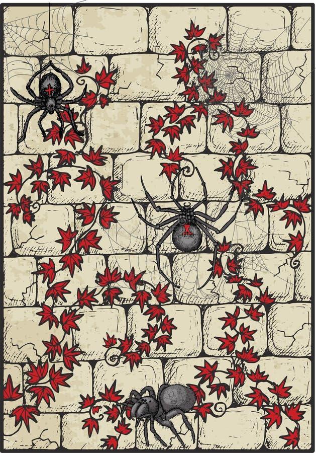 Πέτρινο υπόβαθρο με τις αράχνες και τα φύλλα κισσών διανυσματική απεικόνιση