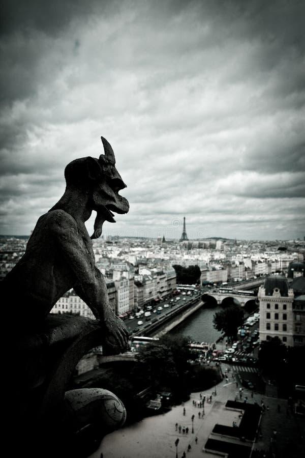 Πέτρινο Gargoyles της Νοτρ Νταμ στοκ εικόνες με δικαίωμα ελεύθερης χρήσης