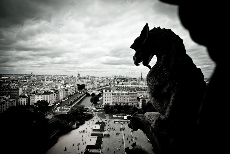 Πέτρινο Gargoyles της Νοτρ Νταμ στοκ φωτογραφία με δικαίωμα ελεύθερης χρήσης