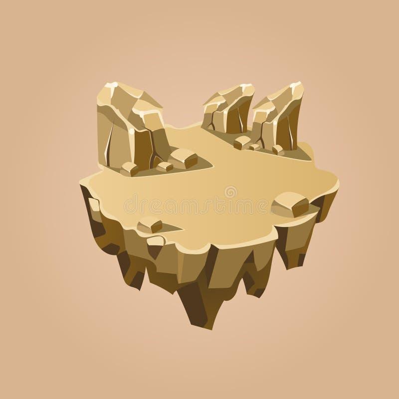 Πέτρινο Isometric νησί κινούμενων σχεδίων για το παιχνίδι, διάνυσμα απεικόνιση αποθεμάτων